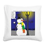 Snowman Scarf Square Canvas Pillow
