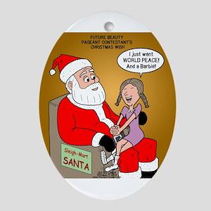 Storefront Santa Wish Ornament (Oval)