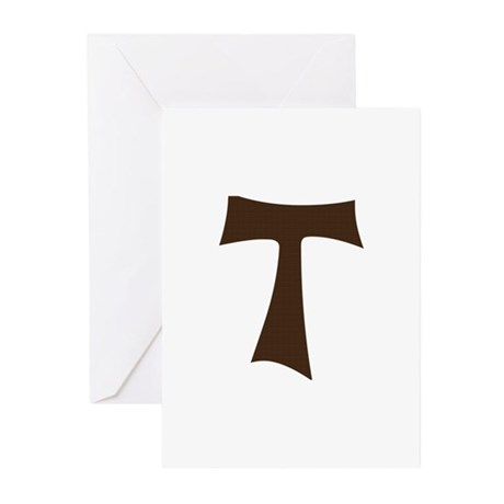 Tau Cross or Crux Commissa Greeting Cards (Pk of 1