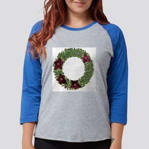 2-cristmass2010wreath Womens Baseball Tee