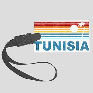 Retro Palm Tree Tunisia Large Luggage Tag