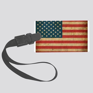 Vintage America Flag Large Luggage Tag