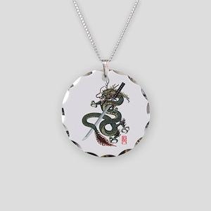 Dragon katana Necklace Circle Charm