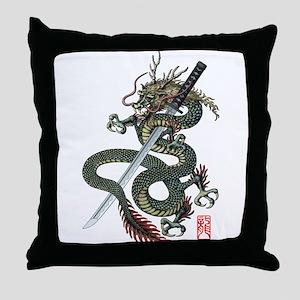 Dragon katana Throw Pillow