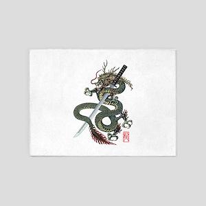 Dragon katana 5'x7'Area Rug
