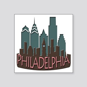 "Philly Skyline Newwave Chocolate Square Sticker 3"""