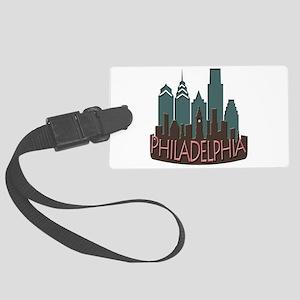 Philly Skyline Newwave Chocolate Large Luggage Tag