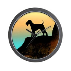 airedale terrier sunset cliff Wall Clock