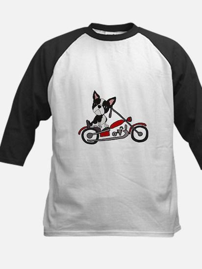 Boston Terrier on Motorcycle Baseball Jersey