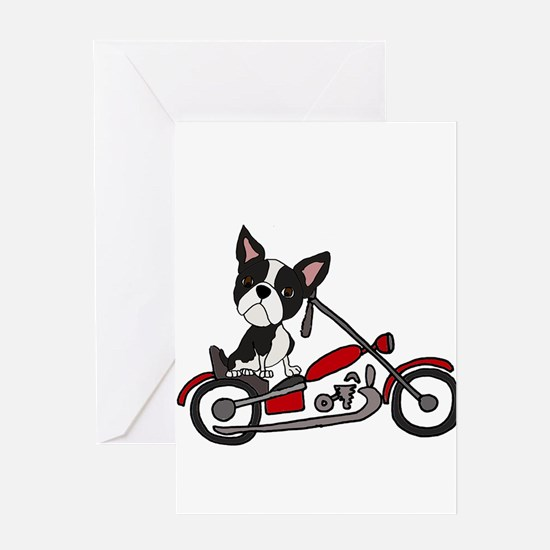 Boston Terrier on Motorcycle Greeting Cards