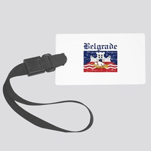 Flag Of Belgrade Design Large Luggage Tag