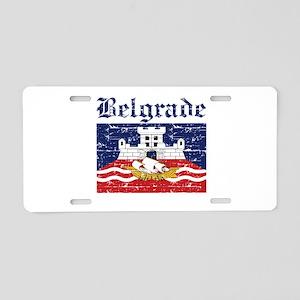 Flag Of Belgrade Design Aluminum License Plate