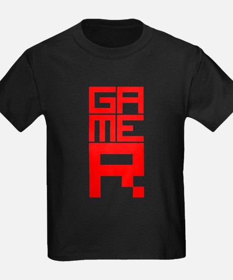 Retro Pixelated Gamer Geek Design in Red T