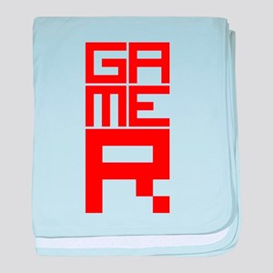 Retro Pixelated Gamer Geek Design in Red baby blan