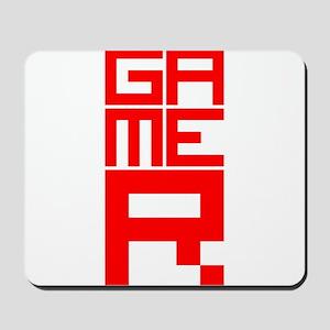 Retro Pixelated Gamer Geek Design in Red Mousepad