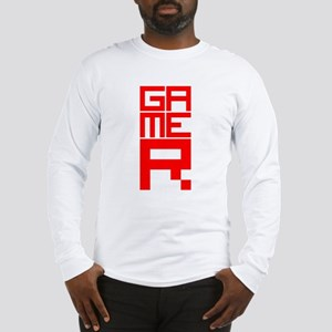 Retro Pixelated Gamer Geek Design in Red Long Slee