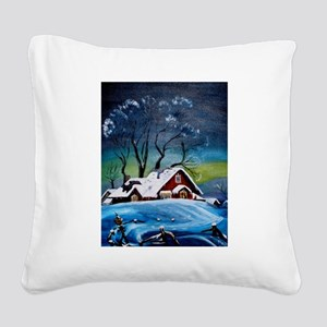 Winter Night at the Farm Square Canvas Pillow