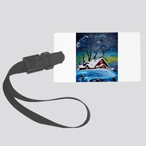 Winter Night at the Farm Large Luggage Tag