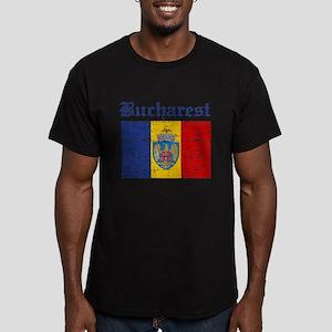 Flag Of Bucharest Design Men's Fitted T-Shirt (dar
