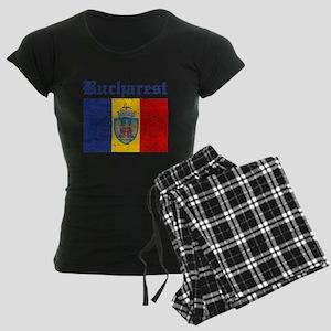 Flag Of Bucharest Design Women's Dark Pajamas