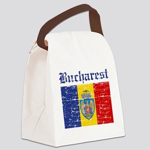Flag Of Bucharest Design Canvas Lunch Bag