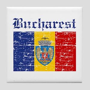 Flag Of Bucharest Design Tile Coaster