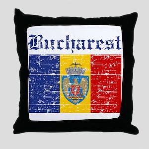 Flag Of Bucharest Design Throw Pillow