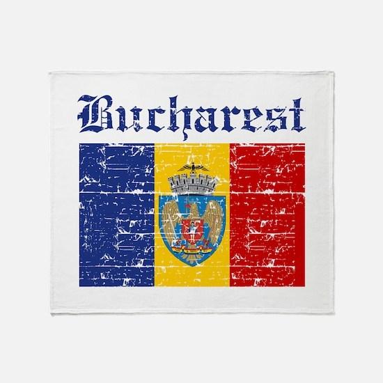Flag Of Bucharest Design Throw Blanket