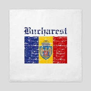 Flag Of Bucharest Design Queen Duvet