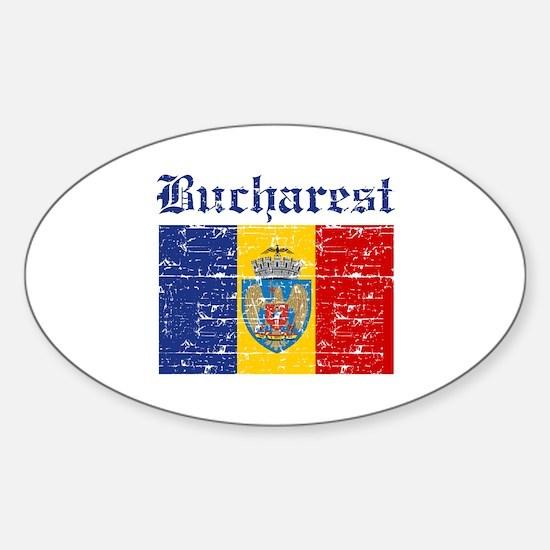 Flag Of Bucharest Design Sticker (Oval)