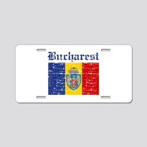 Flag Of Bucharest Design Aluminum License Plate