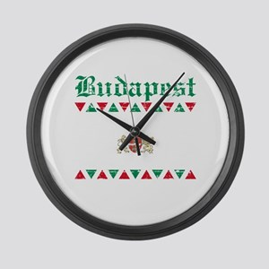 Flag Of Budapest Design Large Wall Clock