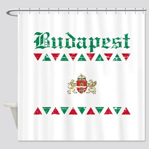 Flag Of Budapest Design Shower Curtain