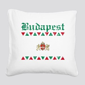 Flag Of Budapest Design Square Canvas Pillow