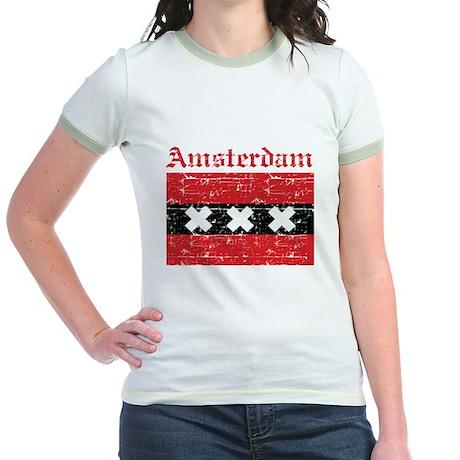 Flag Of Amsterdam Design Jr. Ringer T-Shirt
