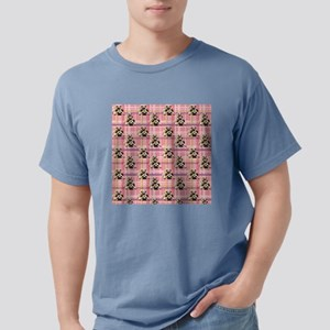 Pugs on Pink Plaid Mens Comfort Colors Shirt