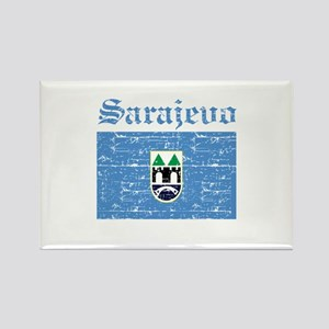 Flag Of Sarajevo Design Rectangle Magnet