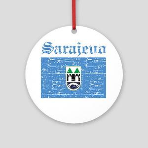 Flag Of Sarajevo Design Ornament (Round)