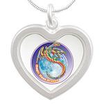Magic Moon Dragon Silver Heart Necklace