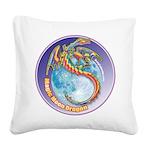 Magic Moon Dragon Square Canvas Pillow