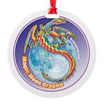 Magic Moon Dragon Round Ornament