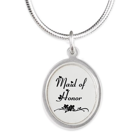 Classic Maid of Honor Silver Oval Necklace