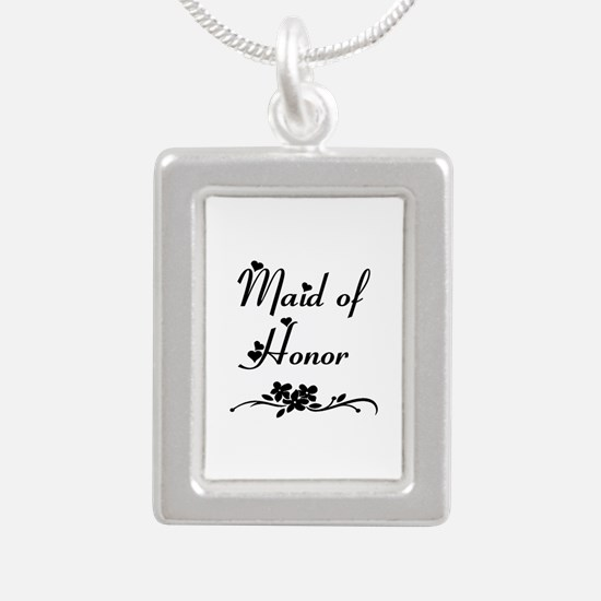 Classic Maid of Honor Silver Portrait Necklace