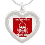 Danger!!Mines!! Silver Heart Necklace