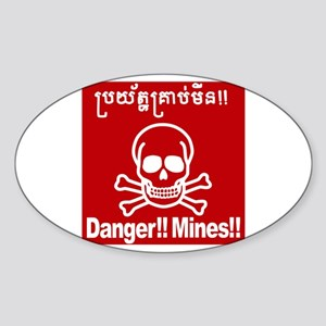 Danger!!Mines!! Sticker (Oval)