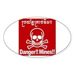 Danger!!Mines!! Sticker (Oval 10 pk)