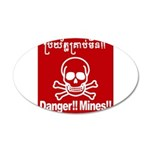 Danger!!Mines!! 20x12 Oval Wall Decal