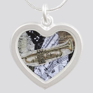Trumpet Silver Heart Necklace