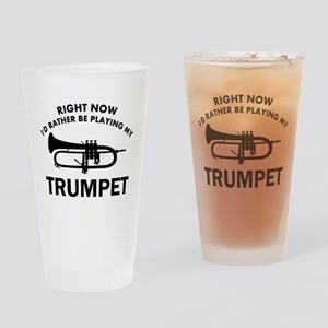 Trumpet silhouette designs Drinking Glass