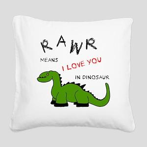 DinoRawr Square Canvas Pillow
